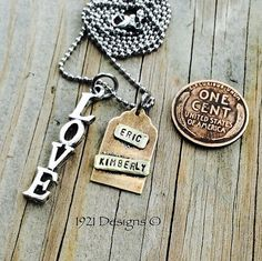 Hand stamped personalized necklace.