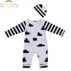 ISOCUTE New Autumn Baby Boy Clothing Set Cotton Striped Long Sleeve Romper + Hat Beanie Cute Cloud Infant Toddler Boys Outfits