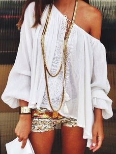 off the shoulder boho chic white peasant blouse top with long modern hippie layered necklaces.  For the BEST Bohemian fashion trends FOLLOW https://www.pinterest.com/happygolicky/the-best-boho-chic-fashion-bohemian-jewelry-gypsy-/ now!