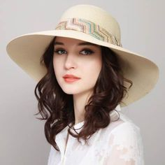 376ae869 Geometric hatband straw hat for beach vacation UV wide brim sun hats