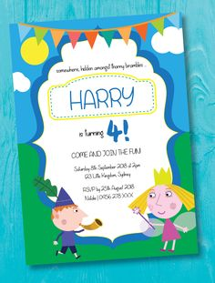 Ben & Holly - Birthday Invitation - Kids parties - Pink or Blue Ben And Holly, Boy Birthday Invitations, Pink Blue, Rsvp, Colours, Prints, Artwork, Party, Work Of Art