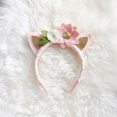 Orejas de gato Kitty fieltro diadema flor / / por BakerBlossoms