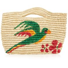 Sensi Studio Macaw hand-painted straw mini bag ($246) ❤ liked on Polyvore featuring bags, handbags, mini purse, mini handbags, sensi studio, beige purse and cream purse