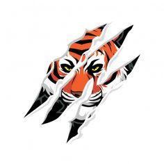 Tiger Claws Tearing 12314 Tiger Claw Tattoo, Tiger Tattoo Design, Photo To Cartoon, Tiger Illustration, Mirror Decal, Minimal Logo Design, Tiger Art, Animal Logo, Claws