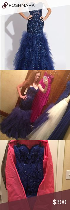 Jovani blue mermaid prom dress. Stayed in a closet in a dress bad since 2014. Worn once and fits like a glove. Jovani Dresses Prom