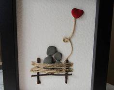 Guijarro arte / Arte del amor / regalo de la piedra natural regalo / arte de piedra / arte de pared