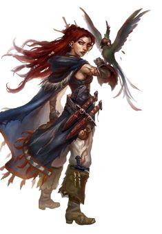 Female Human Hunter or Ranger - Pathfinder PFRPG DND D&D 3.5 5th ed d20 fantasy