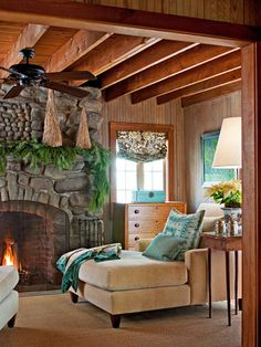 Master sitting room.  Christmas at the Cabin - Traditional Home®