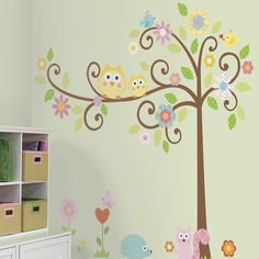 Scroll Tree Wall Stickers, Girls Wall Stickers, RoomMates Wall Stickers | Becky & Lolo