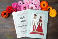 Indian Wedding Invitation Card Suite  Boho Indian  by KiwiAndBacon