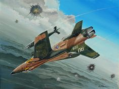 "Jack Spillers flew ""Jeanie"", an of the TFS, out of Korat RTAB during 1968 combat missions against North Vietnam. He is seen rolling into his dive bomb run on a target as AAA brackets his Thud. North Vietnam, Vietnam War, Fighter Aircraft, Fighter Jets, Korat, Airplane Art, Aviation Art, Aircraft Carrier, Military Art"