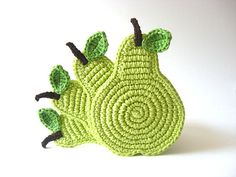 Green Light Pear Coasters . Beverage Drink Pastel Peridot Lime Leaves Vegan Decor Crochet Fruit Collection - Set of 4. #etsy