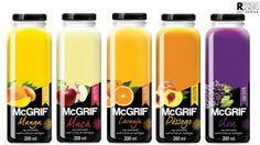 Creative Agency: Art Design Project Type: Produced, Commercial Work Client: McGrif Sucos Location: Sao Paulo - Brazil Packaging C. Yogurt Packaging, Juice Packaging, Food Packaging Design, Beverage Packaging, Bottle Packaging, Bottle Labels, Juice Logo, Juice Branding, Kombucha