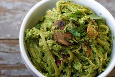 Edamame Pesto On Spinach Linguine by isachandra, via Flickr