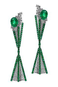 Reminiscent of a Christmas tree! via National Jeweler - Earrings | Cantamessa