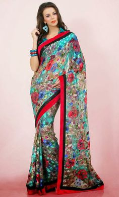 USD 55.72 Teal Blue Brasso Saree 29806