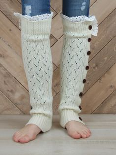 Nicely Knitted Button Legwarmers in Ivory at altardstate.com <3 <3