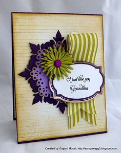 I have a hard time figuring out what to do with ribbon and making it look nice but this card does it simply and elegantly.