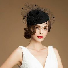 Black A052 Velet Flower Womens Dress Fascinator Wool Pillbox Hat Party  Wedding  6aedcecb174
