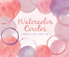 Instant download hand painted watercolor circles and splotches clip art set in pastel red, pink, lavender and pale pink. These charming