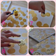 DIY metallic gold and glitter artwork on canvas. I would do silver. Cute Crafts, Diy And Crafts, Crafts For Kids, Arts And Crafts, Diy Artwork, Diy Wall Art, Craft Projects, Projects To Try, Craft Ideas