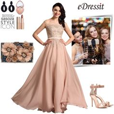 A Line Capped Sleeves Applique Lace Formal Dress Prom Gown