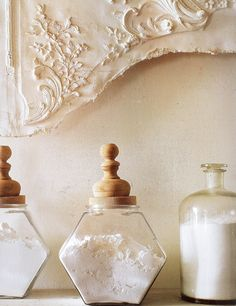 Finials - First there were tension rods. Then came the drawer pulls. More recently it was shelf brackets. But did you know that you can use finials in all sorts of ways, beyond curtain rods? Glass Canisters, Glass Jars, Glass Containers, Wooden Containers, Food Canisters, Glass Bottle, Partners Desk, Vanilla Cream, Clotted Cream