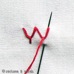 "This site has tutorials for different types of embroidery stitches.  For example:  the ""fly"" stitch."