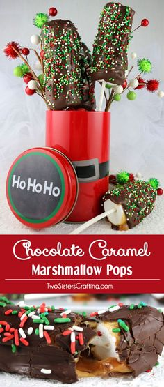 Chocolate Caramel Marshmallow Pops are a homemade candy bar-like Christmas treat that will be sure to please this holiday season.  Easy to make and easy to eat, this is an A+ Christmas dessert in our book.  Pin this delicious Holiday Candy for later and follow us for more great Christmas Food Ideas.