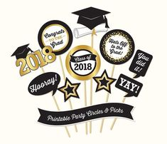 Graduation Party Circles and Picks, PRINTABLE, Black and Gold Tones, Graduation Decorations, 2018 Graduation Cards Handmade, Graduation Diy, Graduation Decorations, Diy Photo Booth Props, Table Set Up, School Events, Ideas Para Fiestas, Christmas Gift Wrapping, Christmas Wallpaper