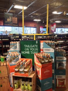 Camarena Tequila Display: Call to action on Astroturf and 3D goalpost. Gets your attention from across the store.