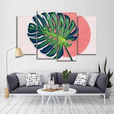Monstera Paradise Multi Panel Canvas Wall Art will spruce up the walls of any room you choose to place it in. Reflect your love for plants that give you fresh air to breathe with this beautiful art print. Modern Wall Art, Modern Decor, Watercolor Walls, Tropical Decor, Tropical Plants, Wall Art Designs, Decoration, Canvas Wall Art, Canvas Prints