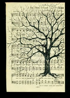Tree on Vintage Hymnal Book Page by kimbade on Etsy, $18.25