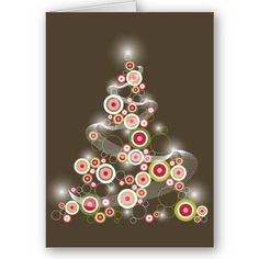 Modern Stylish Red Retro Circles X'mas Tree Holiday Christmas Greetings Card by fatfatin