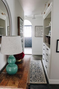 Hall Cabinet - Battery Library Lights and Removable Wallpaper - The Inspired Room Sliding Cabinet Doors, Pantry Doors, Small Hallways, Built In Cabinets, Paper Houses, Barn Lighting, Paint Colors For Home, Ship Lap Walls, Room Inspiration