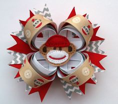 Sock Monkey Hair Bow 4 Stacked Hairbow in by TheSweetBCollection, $8.99