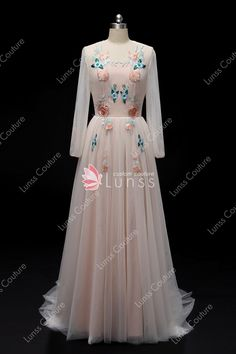 7350942bf63 Vintage Pink Long Sleeve Illusion Neck Embroidery Tulle Long Wedding Dress  with Open Back