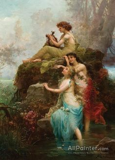 Symphony Of The Water Nymphs by Hans Zatzka Handmade oil painting reproduction on canvas for sale,We can offer Framed art,Wall Art,Gallery Wrap and Stretched Canvas,Choose from multiple sizes and frames at discount price. Renaissance Kunst, Renaissance Paintings, Classic Paintings, Beautiful Paintings, Art Paintings, Fantasy Kunst, Fantasy Art, Water Nymphs, Photocollage