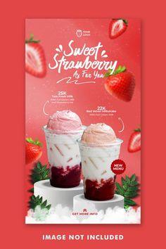 Food Poster Design, Flyer Design, Web Design, Restaurant Promotions, Strawberry Drinks, New Menu, Drink Menu, Instagram Story Template, Corporate Identity