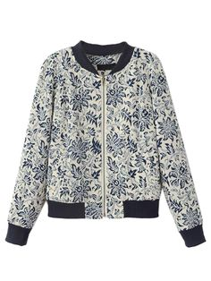 Blue Tile Print Stand Up Collar Jacket
