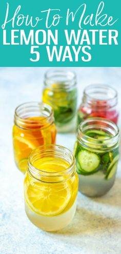 These 5 Lemon Water Recipes are so delicious and the best way to start your day! From adding strawberries to fresh herbs, youll learn about the benefits of lemon water and myths around lemon water detox Lemon Water Health Benefits, Lemon Benefits, Hot Lemon Water, Drinking Lemon Water, Best Lemon Water Recipe, Lemon Infused Water, Water Recipes, Detox Recipes, Juice Recipes