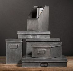 Spray paint cardboard w metallic paint - Office & Storage | Restoration Hardware #VintageIndustrial