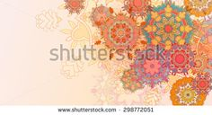 Vintage colorful hand drawn Card  Template with Round Mandala Label with place for your text - stock vector