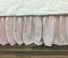 Blush Pink Linen Bed Skirt with Gathered Ruffle