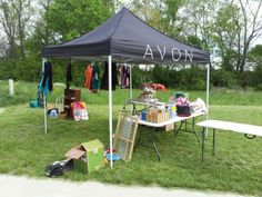 Yard Sale Avon Business Model.  Yard sales are big here in Kentucky, and yard sale season is in full swing.  I do an Avon booth at many vendor shows and craft fairs around here, and I sell/recruit successfully at them.  However, they all cost a vendor fee, ranging from $20-40, plus gas to get there.  Of course these are deductible expenses, but a penny saved is a penny earned!  Click Pin to read more!