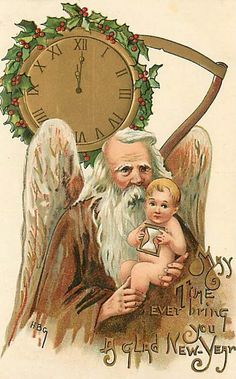 New Year--Father Time with Baby New Year Vintage Greeting Cards, Vintage Christmas Cards, Christmas Gift Tags, Christmas Images, Vintage Holiday, Christmas Art, Vintage Postcards, Holiday Pics, Vintage Happy New Year