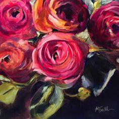 Mini Paintings, Watercolor Paintings, Original Paintings, Flower Canvas, Flower Art, Spring Painting, Acrylic Flowers, Rose Art, Painting Inspiration