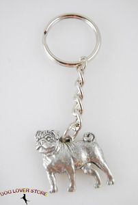 Pug Pewter Key Chain, great as a Christmas stocking stuffer! 82 other breeds available at www.DogLoverStore.com for $7.00