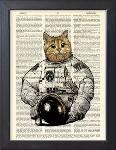 Cat astronaut Art Print Poster Space Cat space suit DICTIONARY Print Book Pages Home Decor DORM decor Wall Art decor CODE/050 (10.00 USD) by Natalprint