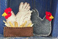Downeast Thunder Farm Felt Chicken Ornament PDF pattern & instructions. (Very cute!!!)